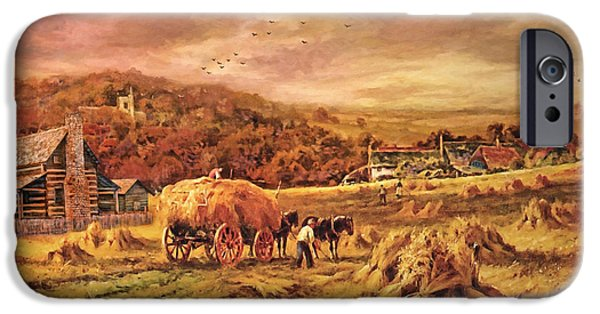 Harvest Time iPhone Cases - Autumn Folk Art - Haying Time iPhone Case by Lianne Schneider