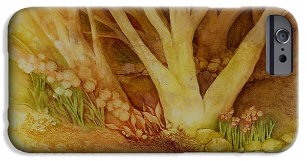 Sun Rays Paintings iPhone Cases - Autumn Forest iPhone Case by Hailey E Herrera