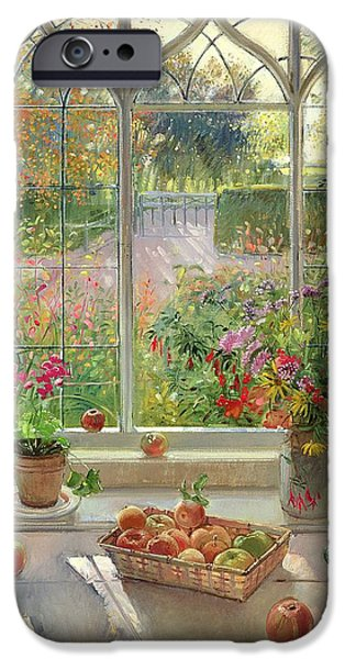 Ledge Photographs iPhone Cases - Autumn Fruit And Flowers, 2001 Oil On Canvas iPhone Case by Timothy Easton