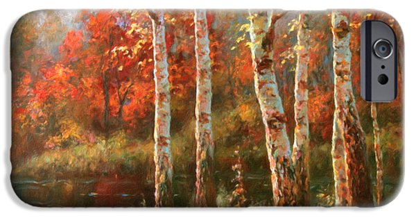 Autumn Landscape Mixed Media iPhone Cases - Autumn Grace iPhone Case by Georgiana Romanovna