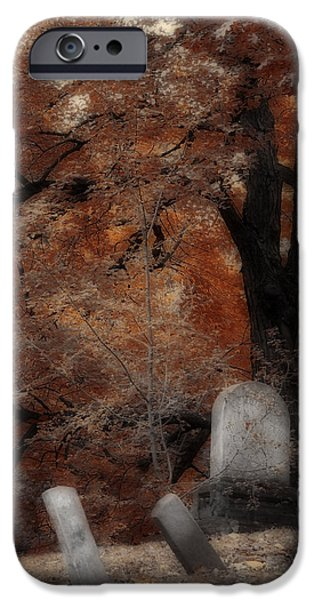 Fall Scenes iPhone Cases - Autumn Graveyard iPhone Case by Gothicolors Donna Snyder
