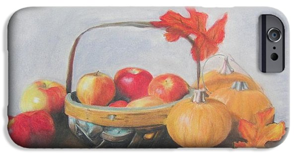 Basket Pastels iPhone Cases - Autumn Harvest iPhone Case by Molly Grover