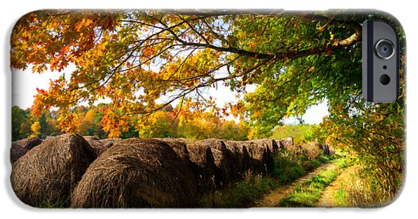 Abstract Digital Photographs iPhone Cases - Autumn Hay Bales Blue Ridge Mountains II iPhone Case by Dan Carmichael