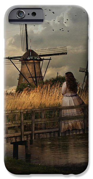 Village iPhone Cases - Autumn impression with two dutch windmills iPhone Case by Jaroslaw Blaminsky