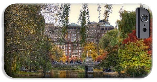 Boston Fall Scenes iPhone Cases - Autumn in Boston Garden iPhone Case by Joann Vitali