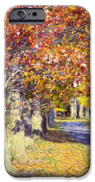 Pathway iPhone Cases - Autumn in Hyde Park iPhone Case by Joan Carroll
