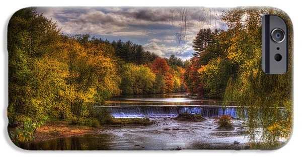 New Hampshire Fall Scenes iPhone Cases - Autumn in New England - Contoocook NH iPhone Case by Joann Vitali