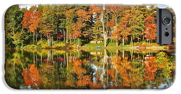 Willow Lake iPhone Cases - Autumn in Ohio iPhone Case by Frozen in Time Fine Art Photography