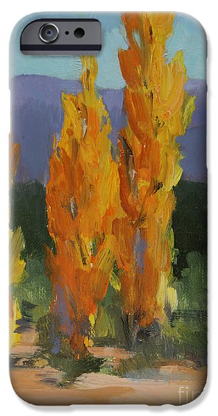 Business Paintings iPhone Cases - Autumn in Santa Fe iPhone Case by Maria Hunt