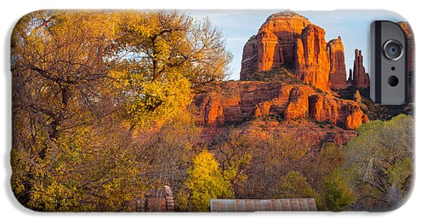 Cathedral Rock iPhone Cases - Autumn in Sedona iPhone Case by Adam  Schallau