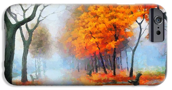Fog Mist Mixed Media iPhone Cases - Autumn In The Morning Mist iPhone Case by Georgiana Romanovna
