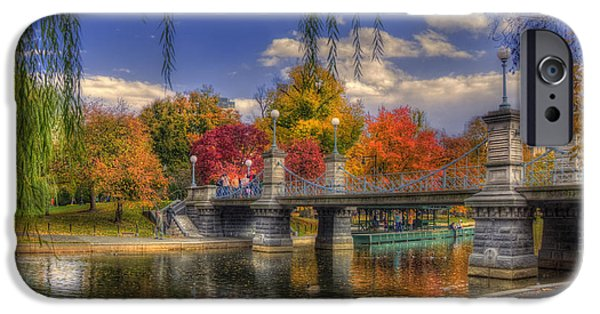 Fall Scenes iPhone Cases - Autumn in the Public Garden - Boston iPhone Case by Joann Vitali