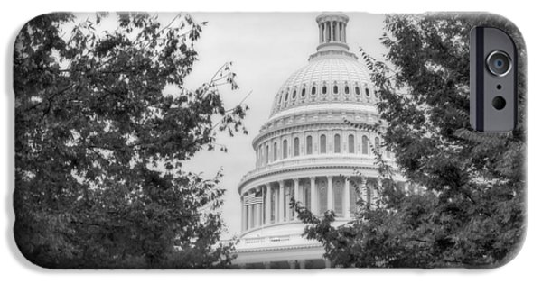 D.c. iPhone Cases - Autumn In The US Capitol BW iPhone Case by Susan Candelario