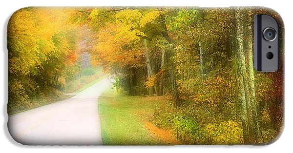 Autumn Road Fractal iPhone Cases - Autumn in Virginia iPhone Case by Katie Wing Vigil
