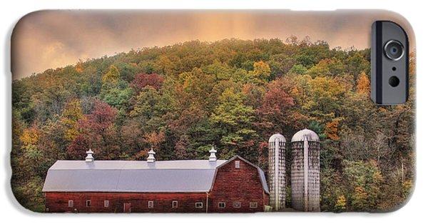 Barns Digital Art iPhone Cases - Autumn in Wellsboro iPhone Case by Lori Deiter