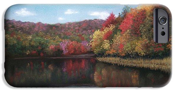 Autumn Landscape Pastels iPhone Cases - Autumn Lake iPhone Case by Angela Robey