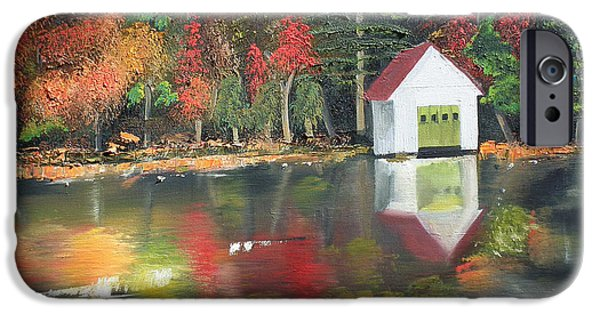 Autumn iPhone Cases - Autumn - Lake - Reflecton iPhone Case by Jan Dappen