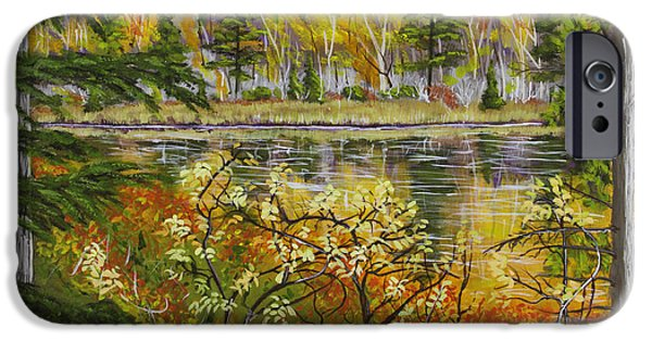 Maine Landscapes Paintings iPhone Cases - Autumn Landscape in Kennebec Highlands of Maine iPhone Case by Keith Webber Jr