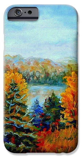 AUTUMN LANDSCAPE QUEBEC RED MAPLES AND BLUE SPRUCE TREES iPhone Case by CAROLE SPANDAU