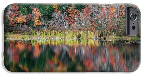Reflections Of Nature iPhone Cases - Autumn Landscape Reflections iPhone Case by Bill  Wakeley