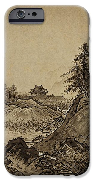 Painter Drawings iPhone Cases - Autumn Landscape Sesshu Toyo 1496 iPhone Case by Movie Poster Prints