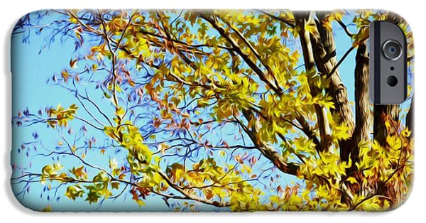 Concept Art iPhone Cases - Autumn leaves against blue sky 1 iPhone Case by Lanjee Chee
