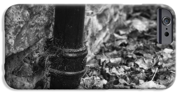 Drain iPhone Cases - Autumn Leaves and Drain Pipe iPhone Case by Ian Barber