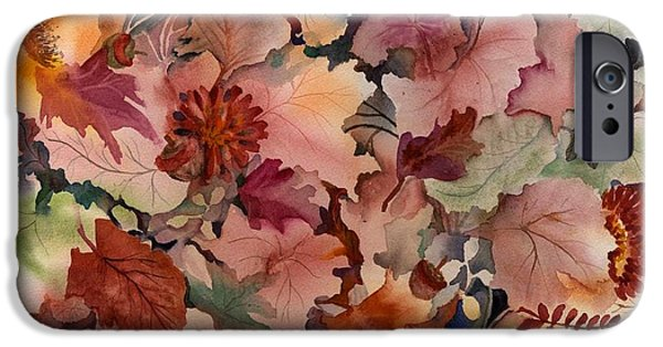 Forest Floor iPhone Cases - Autumn Leaves and Flowers iPhone Case by Neela Pushparaj