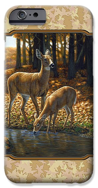 Autumn Scenes Paintings iPhone Cases - Autumn Leaves Doe and Fawn Pillow and Duvet Cover iPhone Case by Crista Forest