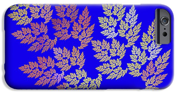 Plants Digital Art iPhone Cases - Autumn Leaves Fractal On Blue Background iPhone Case by Keith Webber Jr
