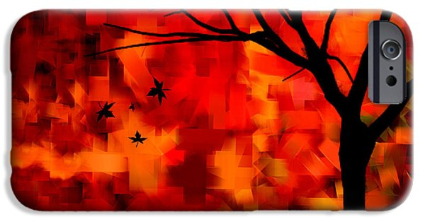 Trees At Sunset iPhone Cases - Autumn Leaves iPhone Case by Lourry Legarde