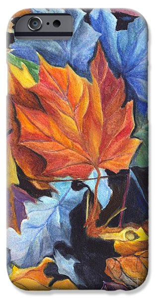 Joyful Drawings iPhone Cases - Autumn Leaves of Red and Gold iPhone Case by Carol Wisniewski