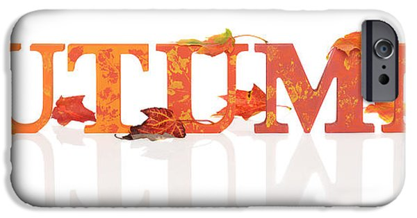 Autumn iPhone Cases - Autumn Letters With Leaves iPhone Case by Amanda And Christopher Elwell