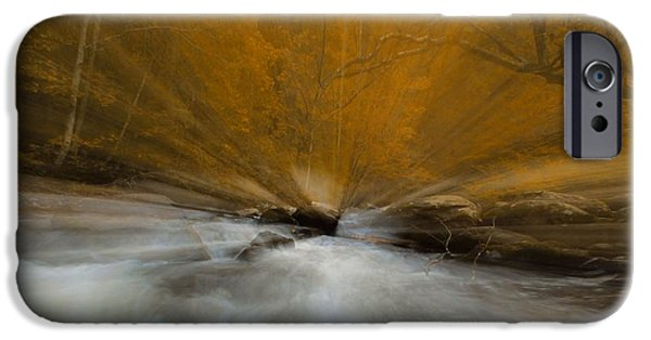 Autumn Leaf On Water iPhone Cases - Autumn Light On Little River iPhone Case by Dan Sproul