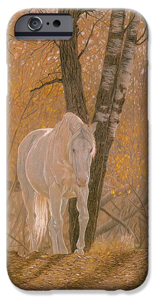 Mammals Drawings iPhone Cases - Autumn Magic iPhone Case by Laura Klassen