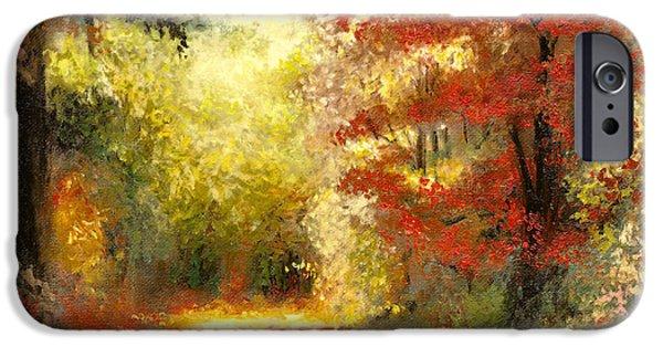 Maple Season Paintings iPhone Cases - Autumn Memories iPhone Case by Melissa Herrin