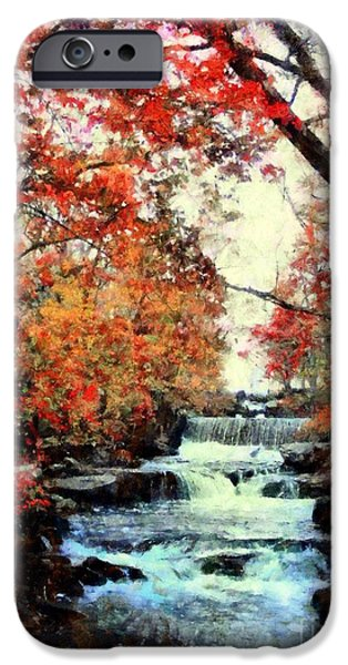 Grist Mill iPhone Cases - Autumn Mill Falls iPhone Case by Janine Riley