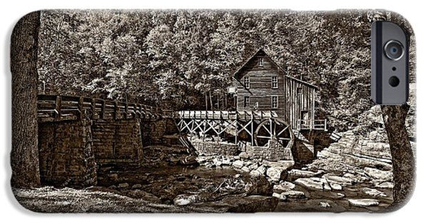 Grist Mill iPhone Cases - Autumn Mill sepia iPhone Case by Steve Harrington