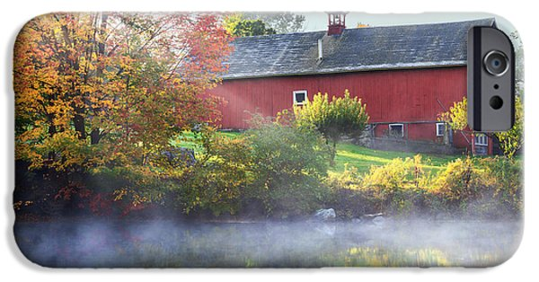 Connecticut Landscape iPhone Cases - Autumn Morn iPhone Case by Bill  Wakeley