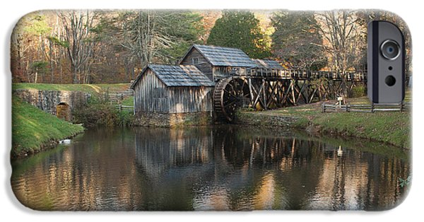 Grist Mill iPhone Cases - Autumn Morning at Mabry Mill iPhone Case by Carol Lynn Coronios