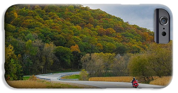 Recently Sold -  - Asphalt iPhone Cases - Autumn Motorcycle Rider iPhone Case by Patti Deters