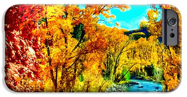 Oak Creek iPhone Cases - Autumn Oak Creek Sedona Arizona iPhone Case by  Bob and Nadine Johnston
