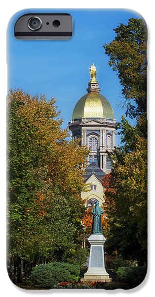 Indiana Autumn iPhone Cases - Autumn on the Campus of Notre Dame iPhone Case by Mountain Dreams
