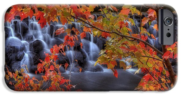 New Hampshire Fall Scenes iPhone Cases - Autumn on the Contoocook River iPhone Case by Joann Vitali