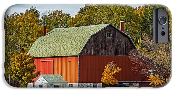 Old Barn Poster Photographs iPhone Cases - Autumn on the farm iPhone Case by Paul Freidlund