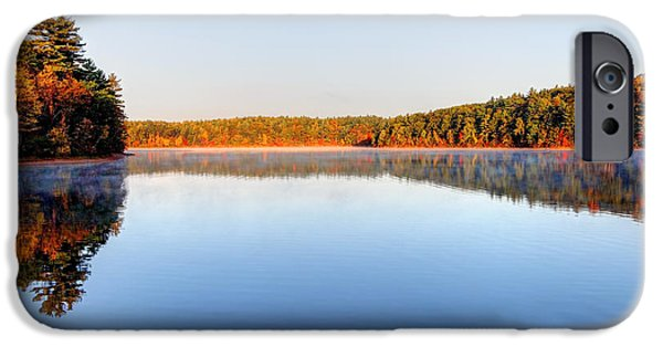 Walden Pond iPhone Cases - Autumn on Walden Pond iPhone Case by Denis Tangney Jr