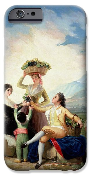 Owner Photographs iPhone Cases - Autumn, Or The Grape Harvest, 1786-87 Oil On Canvas iPhone Case by Francisco Jose de Goya y Lucientes