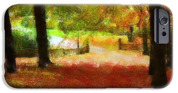 Park Scene Mixed Media iPhone Cases - Autumn park with trees of beech iPhone Case by Toppart Sweden