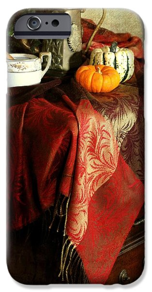 Still Life With Pitcher iPhone Cases - Autumn Pashmina iPhone Case by Diana Angstadt
