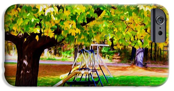 Park Scene Paintings iPhone Cases - Autumn playground 1 iPhone Case by Lanjee Chee